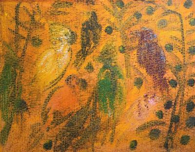 Hunt Slonem Hunt Slonem Large Tourocos Painting in Avery Canvas