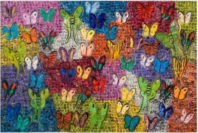 Hunt Slonem Purple Guardians and Butterflies