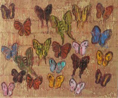 Hunt Slonem Red Butterflies