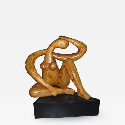 Hy Farber Monumental Carved Wood Nude Sculpture by Hy Farber
