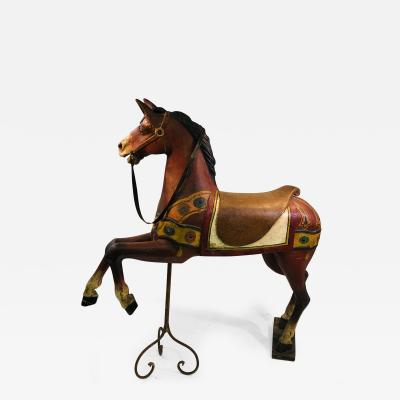 IMPORTANT CARVED TURN OF THE CENTURY CAROUSEL HORSE