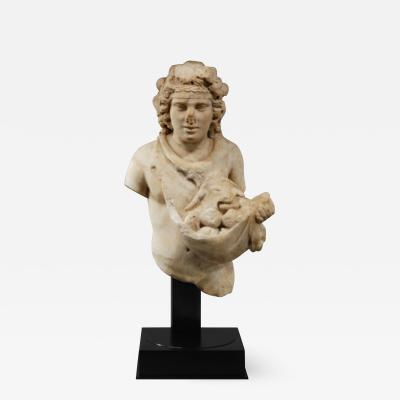 IMPORTANT ROMAN MARBLE STATUE OF A YOUNG SILVANUS