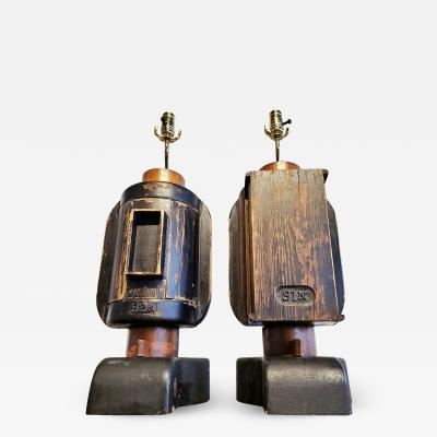 INDUSTRIAL FOUNDRY MOLD TABLE LAMPS PAIR