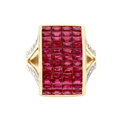INVISIBLE SET RUBY AND DIAMOND COCKTAIL RING 18K YELLOW GOLD