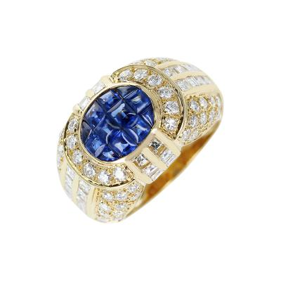 INVISIBLY SET SAPPHIRE AND DIAMOND DOME COCKTAIL RING 18K YELLOW GOLD