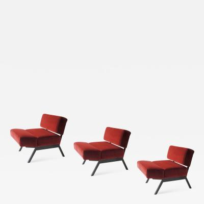 IPE Bologna A set of three I P E lounge chairs Italy 1960s