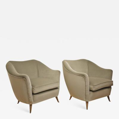 ISA Couple of velvet armchairs circa 1950 Italy