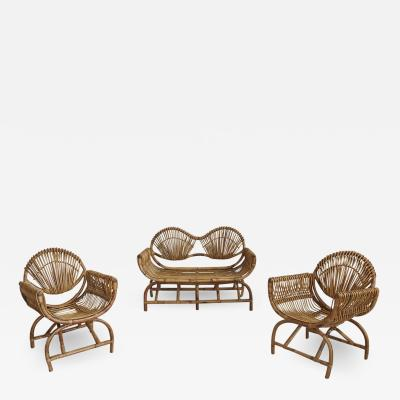 ITALIAN BAMBOO SETTEE AND CHAIRS