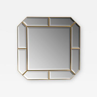 ITALIAN BRASS MIRROR WITH BEVELED EDGES 98X98CM