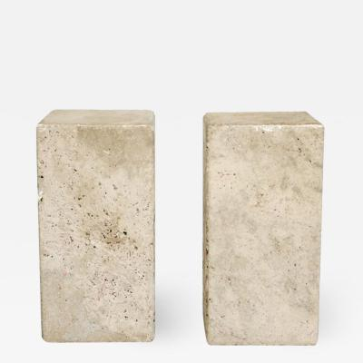 ITALIAN CREAM TRAVERTINE RECTANGULAR SIDE TABLES