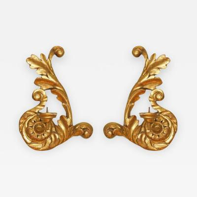 ITALIAN GOLD CARVED WOOD SCONCES