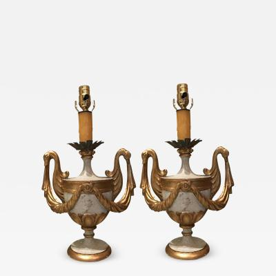 ITALIAN HAND CARVED WOOD POLY CHROME URN LAMP BASES FEATURING GILDED SWAN