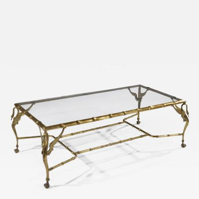 ITALIAN MID 20TH CENTURY BRASS FAUX BAMBOO SWAN COFFEE TABLE