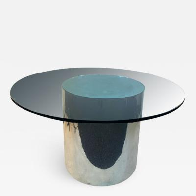 ITALIAN MODERN MIRRORED AND GLASS CYLINDER DINING TABLE