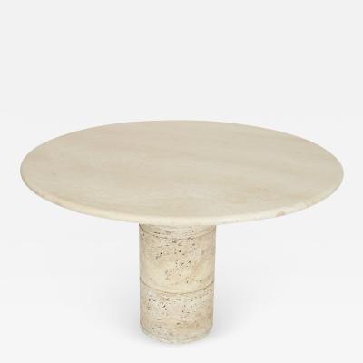 ITALIAN ROUND CREAM TRAVERTINE DINING OR CENTER TABLE ON A ROUND COLUMN BASE