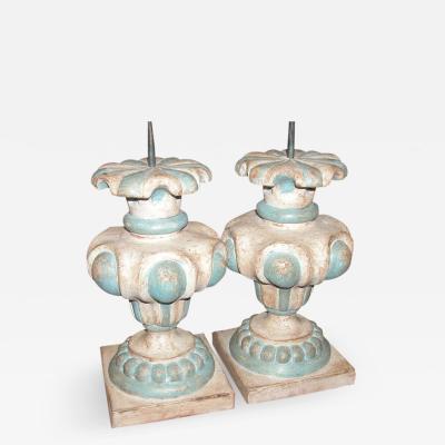 ITALIAN WHITE AND BLUE URN LAMP BASES PAIR