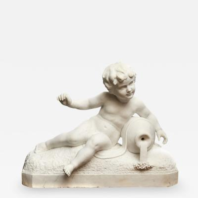 ITALIAN WHITE MARBLE SCULPTURE OF A BOY WITH A WATER PITCHER