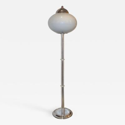 ITRE Italian 1970s Silver Leaf Crystal and Pearl Grey Murano Glass Nickel Floor Lamp
