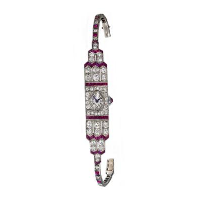 IWC International Watch Company Art Deco Egyptian Revival Platinum Ruby Diamond IWC 14 Carat Diamond Watch