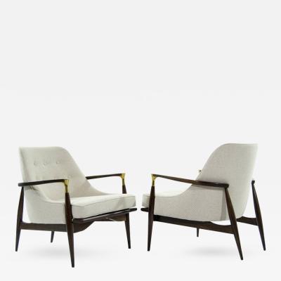 Ib Kofod Larsen Danish Modern Brass Accented Lounge Chairs in the Style of Ib Kofod Larsen