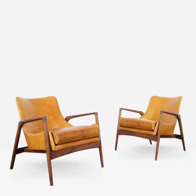 Ib Kofod Larsen Danish Modern Leather Lounge Chairs by Ib Kofod Larsen