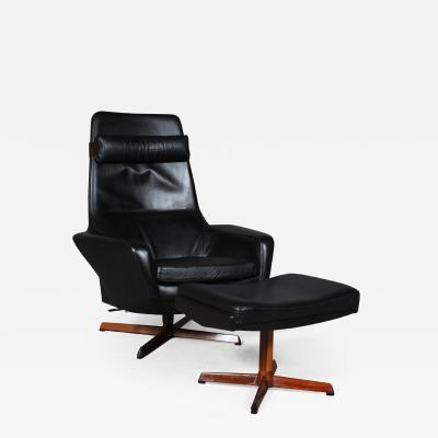 Ib Kofod Larsen Ib Kofod Larsen Armchair with stool black leather 2