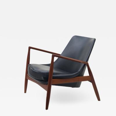 Ib Kofod Larsen Ib Kofod Larsen Black Leather Seal Easy Lounge Chair by OPE in Sweden