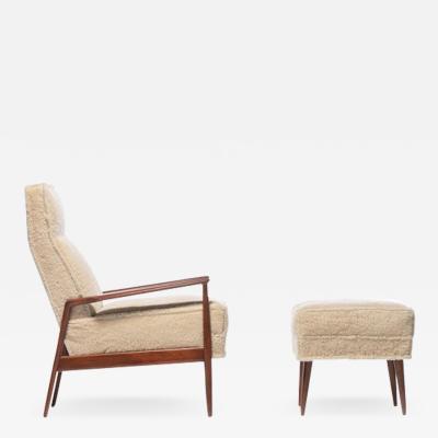 Ib Kofod Larsen Ib Kofod Larsen Highback Blade Arm Lounge Chair Ottoman in Oatmeal Shearling