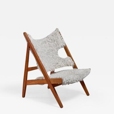 Ib Kofod Larsen Ib Kofod Larsen Limited Edition Sheepskin Knitting Chair Denmark 1951