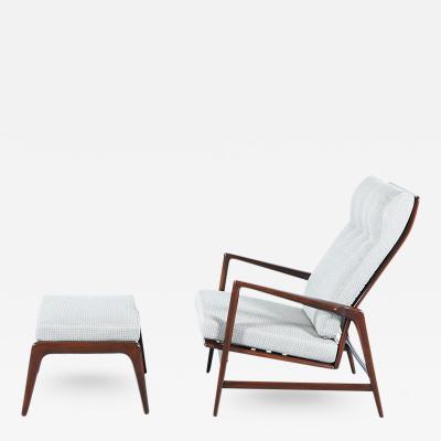 Ib Kofod Larsen Ib Kofod Larsen Reclining Lounge Chair with Ottoman for Selig