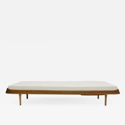 Ib Kofod Larsen Ib Kofod Larsen Teak and White Fabric Upholstered Daybed