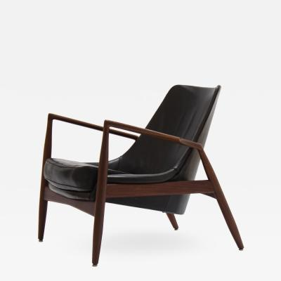 Ib Kofod Larsen Ib Kofod Larsen black Seal Lounge Chair Sweden 1950s