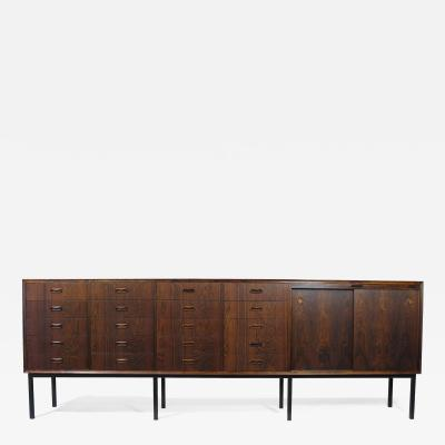 Ib Kofod Larsen Large Brazilian Rosewood Sideboard with Twenty Drawers