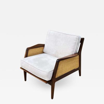 Ib Kofod Larsen Mid Century Danish Modern Lounge Chair by IB Kofod Larsen in Walnut Rafia