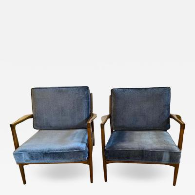 Ib Kofod Larsen Mid Century Modern Ib Kofod Larson Selig Arm Lounge Chairs Pair Danish Label