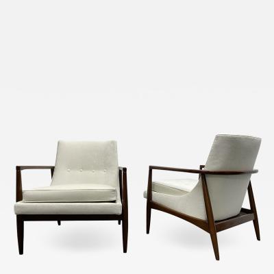 Ib Kofod Larsen Pair Mid Century Modern Sculptural Lounge Chairs style of IB Kofod Larsen