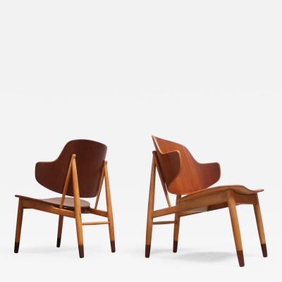 Ib Kofod Larsen Pair of Danish Sculptural Shell Chairs by Ib Kofod Larsen in Teak and Beech