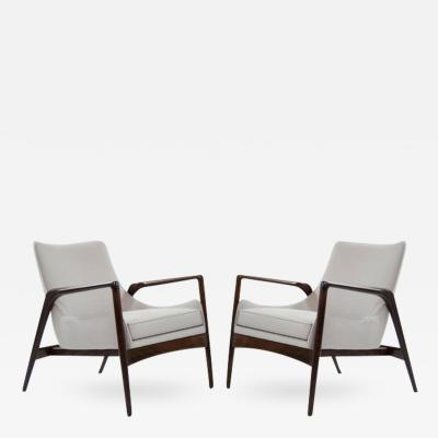 Ib Kofod Larsen Pair of Easy Lounge Chairs by Ib Kofod Larsen