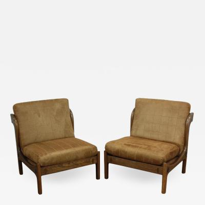 Ib Kofod Larsen Pair of Ib Kofod Larsen Wenge Lounge Chairs for the Megiddo Collection