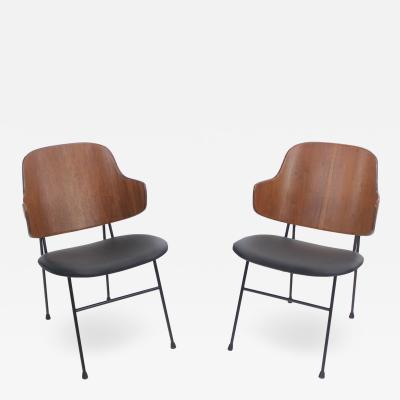 Ib Kofod Larsen Pair of Iconic Scandinavian Modern Chairs Designed by Ib Kofod Larsen
