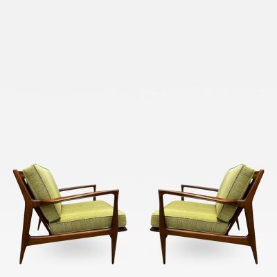 Ib Kofod Larsen Pair of Mid Century Danish Modern IB Kofod Larsen Lounge Chairs in Walnut