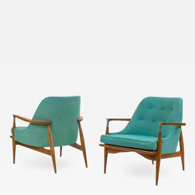Ib Kofod Larsen Pair of Mid Century Modern Lounge Chairs style of lb Kofod Larsen