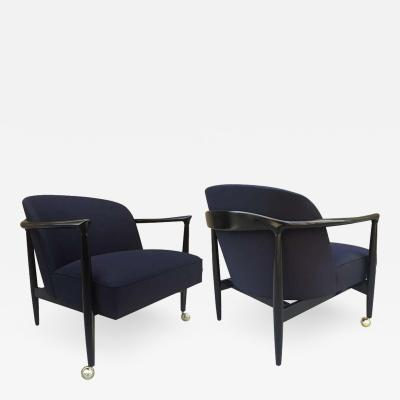 Ib Kofod Larsen Pair of Sculptural Ib Kofod Larsen Lounge Chairs