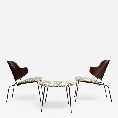Ib Kofod Larsen Rare IB Kofod Larsen Penguin Chairs and Ottoman in Leopard Print Appaloosa Hair