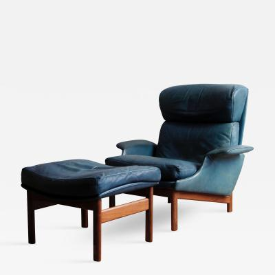 Ib Kofod Larsen Rare Leather and Rosewood Lounge Chair and Ottoman by Ib Kofod Larsen