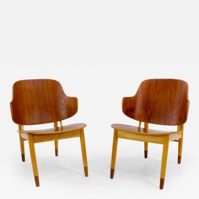 Ib Kofod Larsen Rare Pair of Early Iconic Penguin Chairs Designed by Ib Kofod Larsen
