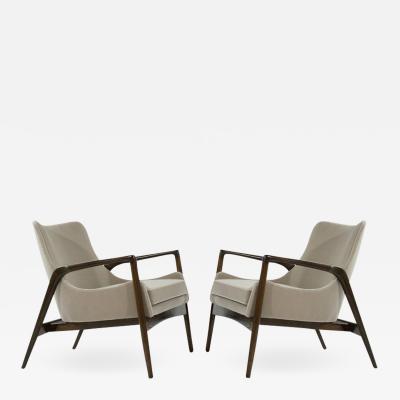 Ib Kofod Larsen Scandinavian Modern Easy Lounge Chairs by Ib Kofod Larsen 1950s