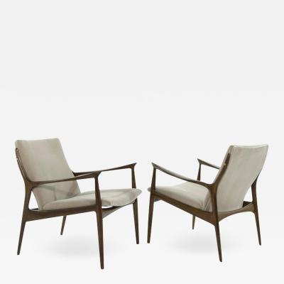 Ib Kofod Larsen Scandinavian Modern Lounge Chairs by Ib Kofod Larsen in Mohair