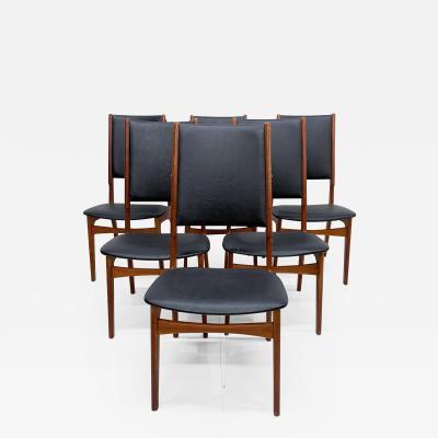 Ib Kofod Larsen Scandinavian Set of Six Teak Dining Chairs Kofod Larsen Denmark 1960s Modern