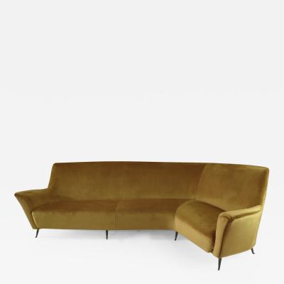 Ico Luisa Parisi Rare Ico Luisa Parisi Large Gold Yellow Velvet Curved Sofa by Isa circa 1952